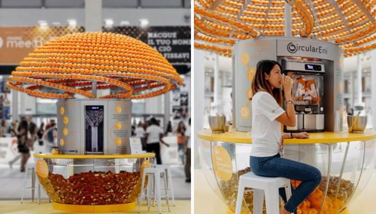 Máquina revolucionária faz suco e 'imprime' copos 3D feitos com cascas de laranja